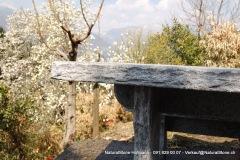 """Detail Kantenbearbeitung handgespitzt - Tisch """"Bernardino"""" aus Tessinergneis dunkel Calanca. Freistehend mit Querbalken 180 x 80 x 6 cm"""